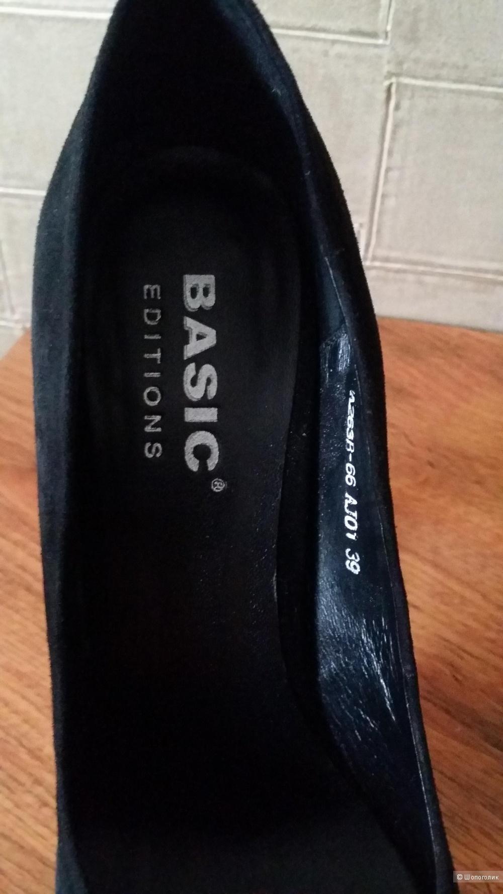 Роскошные вечерние туфли Basic Editions 39 размер из натуральной замши
