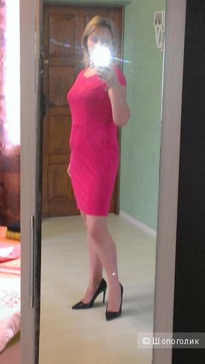 Ярко-розовое платье стрейч 46-48разм.