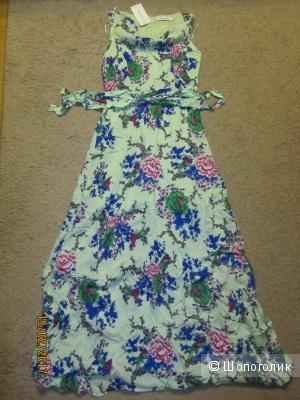 Шикарное, легкое,  летнее, длинное , новое платье с цветочным принтом р. 42 российский.