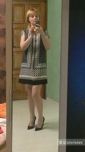 Свободное летнее платье с принтом 46-48разм.