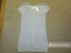 Стильное, вязаное новое платье-туника  серого цвета на 42-44 рос. H&M