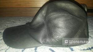 Новая кожаная меховая кепка размер 59