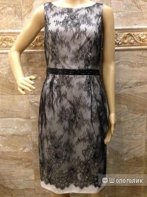 Carmen Marc Valvo дизайнерское платье с французским кружевом р.44-46