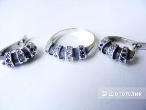 Комплект серьги + кольцо 17,5 чёрные и белые фианиты чернёное серебро 925 пробы