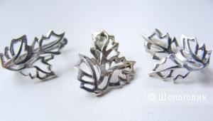 Комплект серьги + подвеска серебро 925 пробы