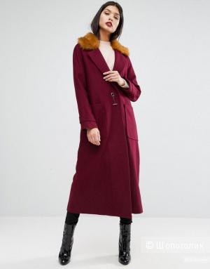 Пальто деми ASOS винного цвета 46 размер