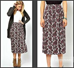 Новая присборенная юбка 3/4 с  рисунком paisley, р.UK14,  вискоза