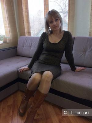 Теплое платье с медным блеском 46-48разм.