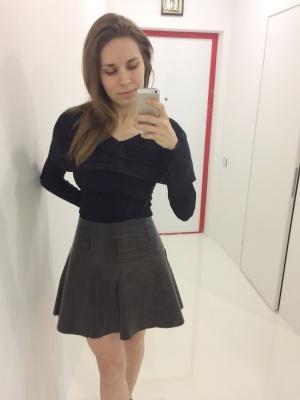 Новая кожаная юбка CHANEL
