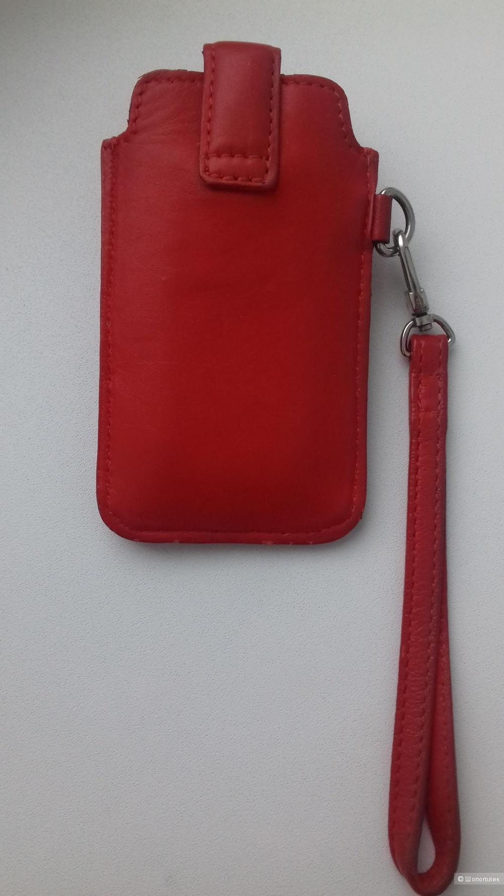 Кожаный чехол сумочка для iPhone, телефона, красный, 770х1300 мм