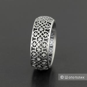 Ажурное кольцо PANDORA серебро 925   вставки  фианит   размер 56 новое