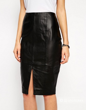 Черная кожаная юбка-карандаш от Asos