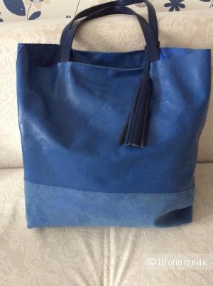 Новая кожаная сумка шопер. Италия