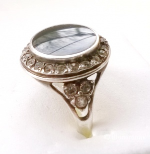 Кольцо с чёрным агатом и фианитами 16,5 размер