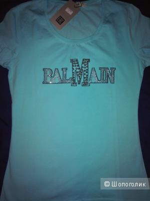 Новая футболка со стразами и бусинами BALMAIN