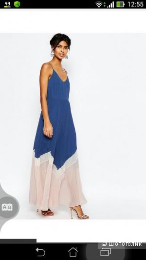 Плиссированное платье в стиле колор блок ASOS