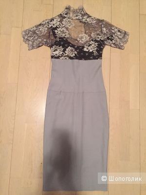 Дизайнерское платье, сшитое на заказ. Кружева, кашемир. Размер 42-44