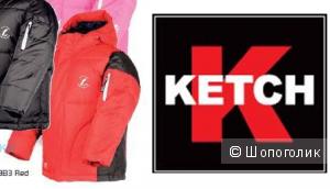 Ketch - супер пуховик, б/у, унисекс. Цвет красный. 104-110 размер.