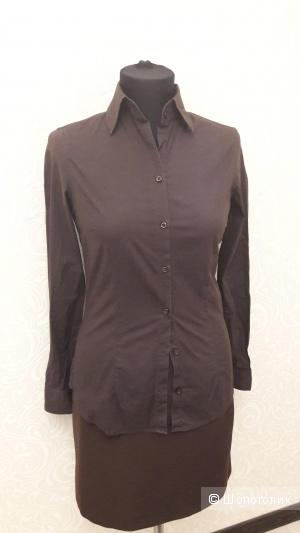 Коричневого сет: блузкa Massimo Dutti и юбка Vila