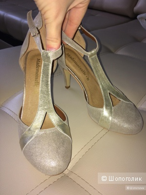 Замшевые серебристые туфельки Mademoiselle°R , 40разм.