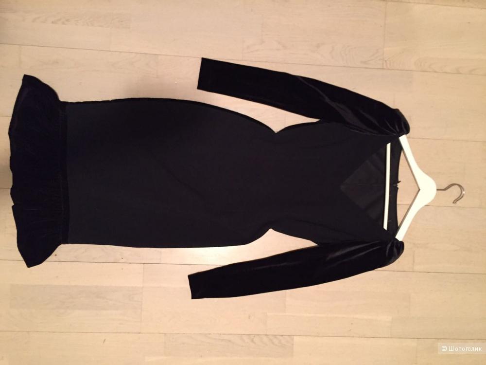 Платье черное с бархатом, сшитое на заказ. Италия.  Размер 42-44.