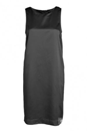 Легкое сатиновое черное платье 46-48разм.