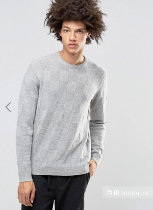 ASOS Lambswool Rich Jumper with All Over Texture in Grey XL