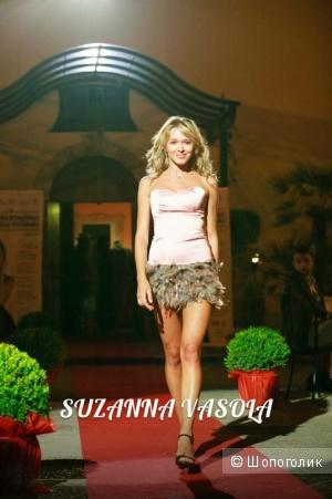 Дизайнерское платье вечернее или коктейльное пудрового цвета размер s единственный экземпляр