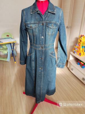 Плащ женский джинсовый (44 российский размер, б/у)