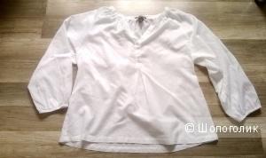 Блузка туника H&M хлопок белая 48 размер новая