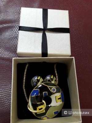 Комплект бижутерии из желтого металла с покрытием под эмаль в стиле Frey Wille