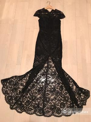 Черное кружевное платье, сшитое на заказ. Италия. размер 42-44