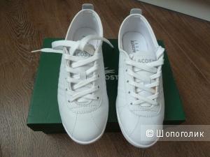 LACOSTE легкие кожаные кроссовки, белые, размер 36-36,5
