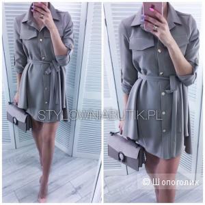 Красивое платье-рубашка из вискозы, цвета капучино польского бренда LaPerla Collezione размер М-Л