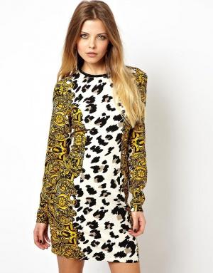 Облегающее платье в стиле барокко со звериным принтом ASOS - р. 42/44