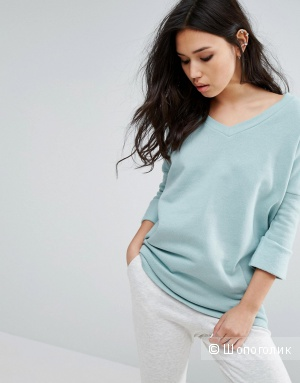 Noisy May Deep V Oversize Sweatshirt - Blue surf / S