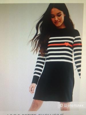 Трикотажное платье с полосками и сердечком ASOS PETITE размер 40 (EU 36)