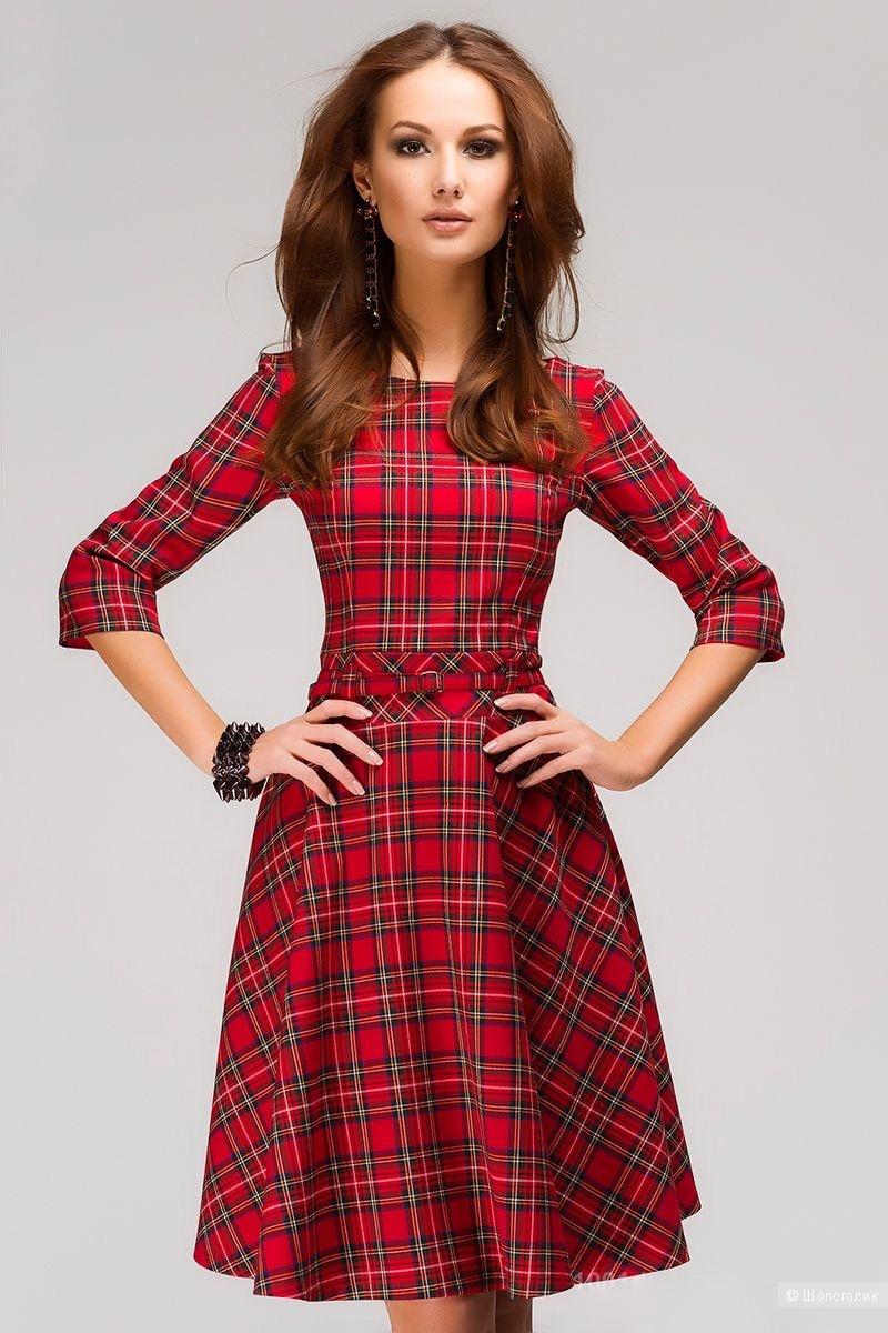 """Красное платье с принтом """"шотландская клетка"""""""