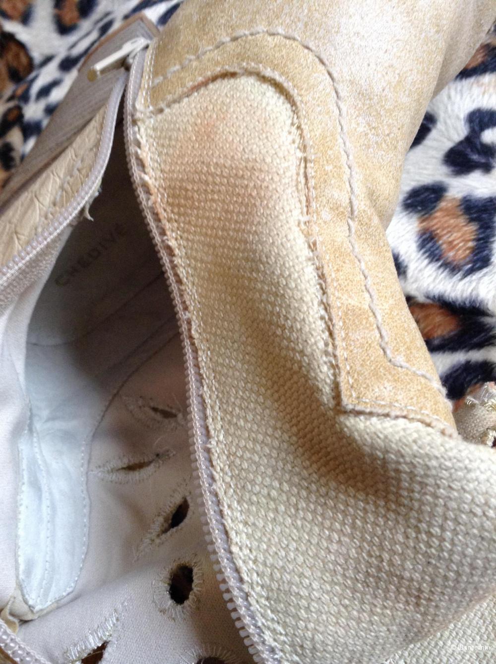 Сапоги,40 размер Италия,из рогожки с кожзамом,раскрашенные