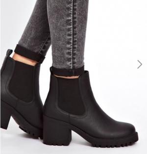Чёрные массивные ботинки челси на низком каблуке New Look (6 UK)