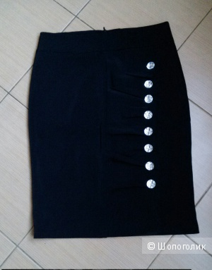 Эффектная черная юбка-карандаш 44-го размера