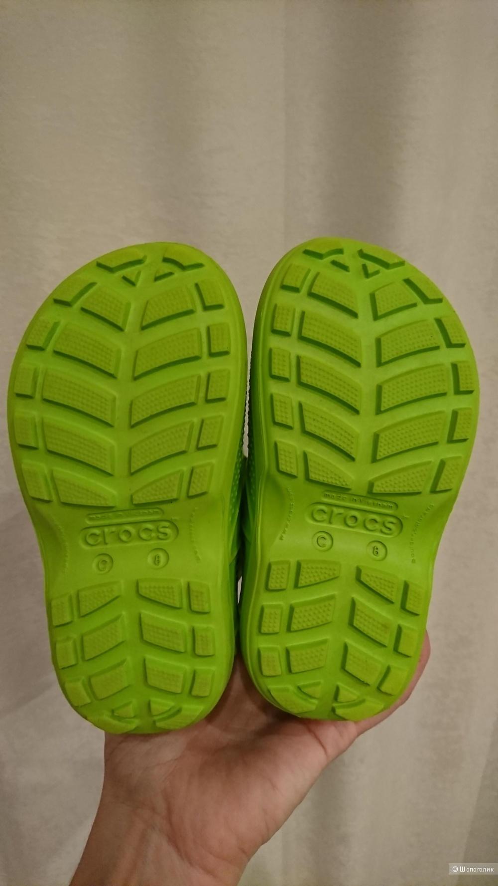 Салатовые сапожки Crocs, C 8