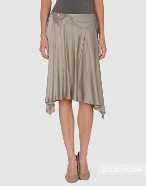 Шелковая юбка с цепочкой на поясе М, серебристо-серая, Италия, WISCH