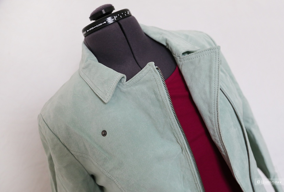 Куртка натуральная кожаная замшевая, мятного цвета, 42-44