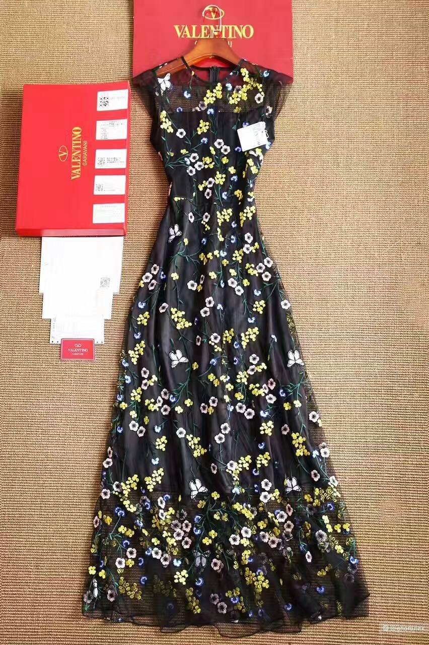 Valentino черное брендовое платье с тонкой цветочной сеткой!