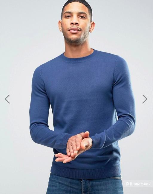 Синий трикотажный джемпер тонкой вязки New Look