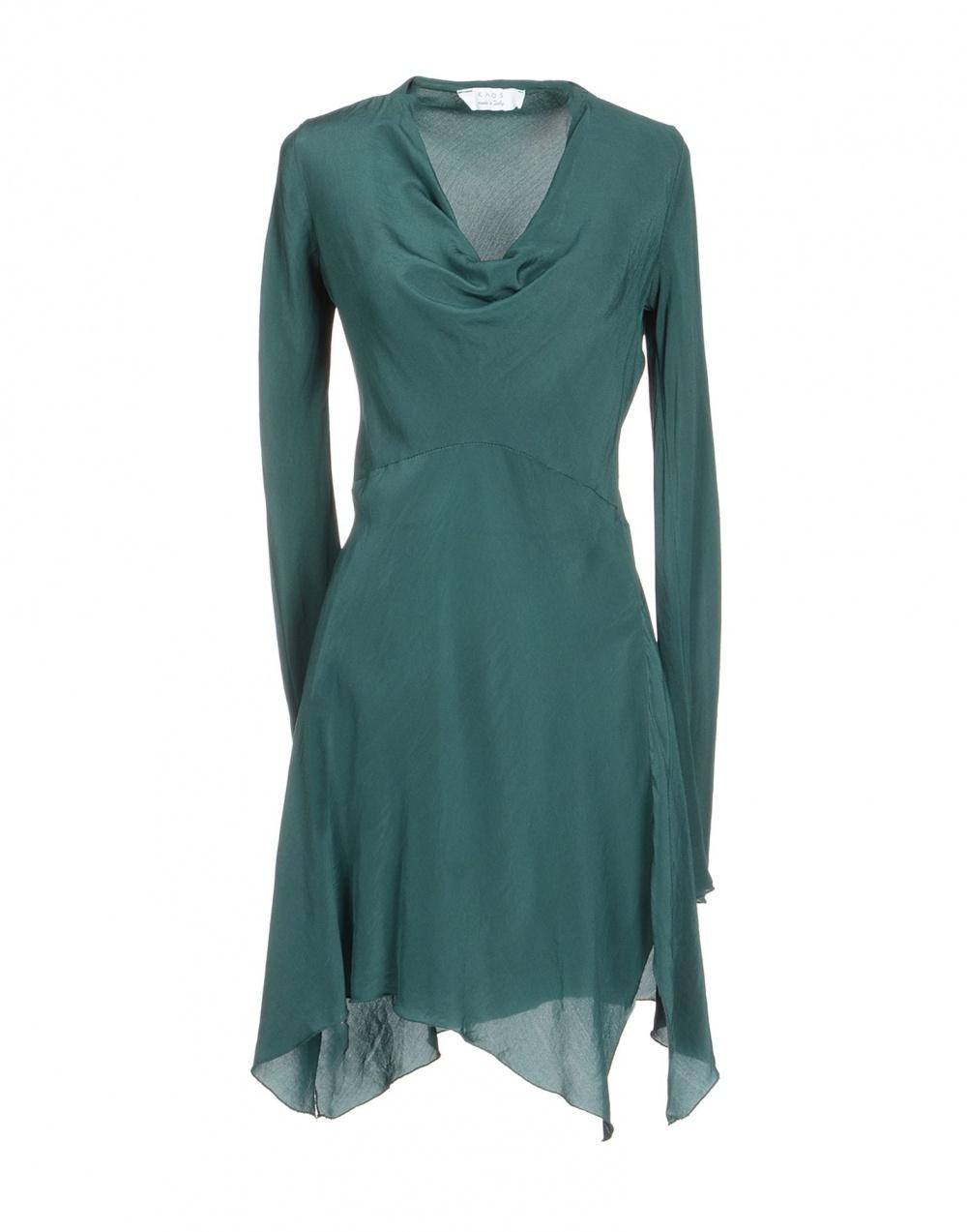 Шелковое короткое платье-туника, изумрудно-зеленое, S-M, Италия
