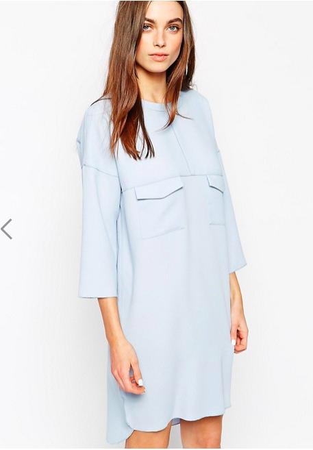 Новое голубое платье oversize Whistles (12 UK)