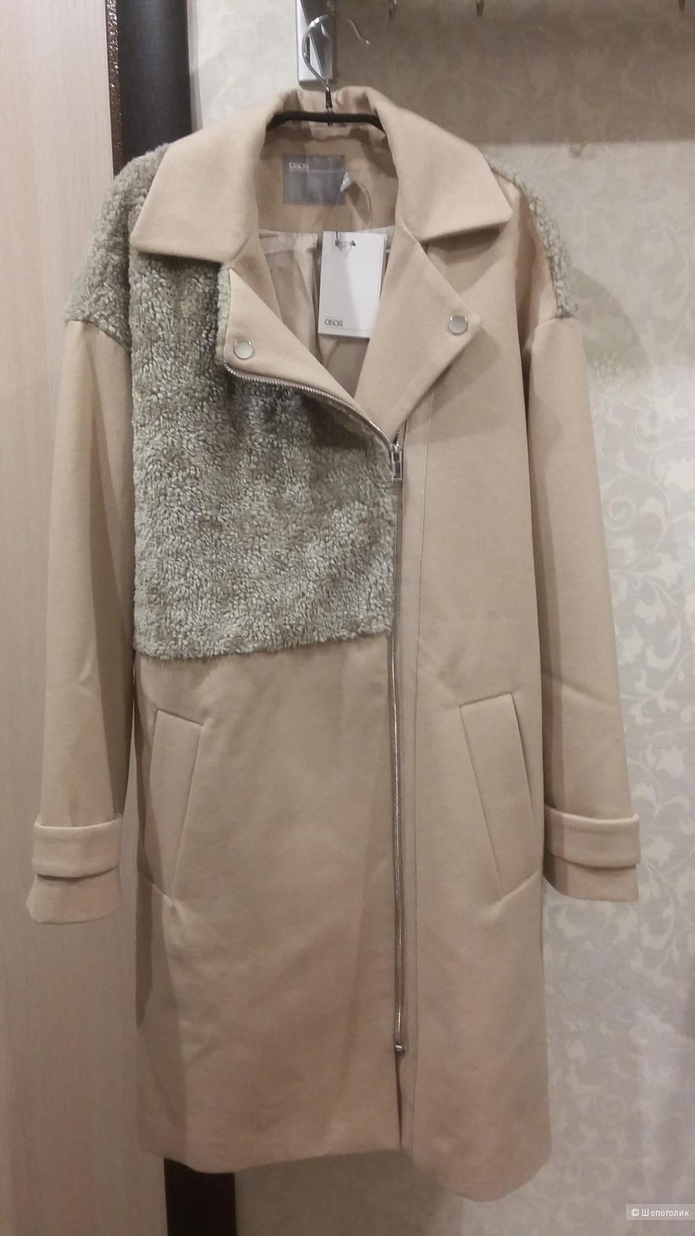 """Пальто в байкерском стиле с отделкой """"борг"""" ASOS"""