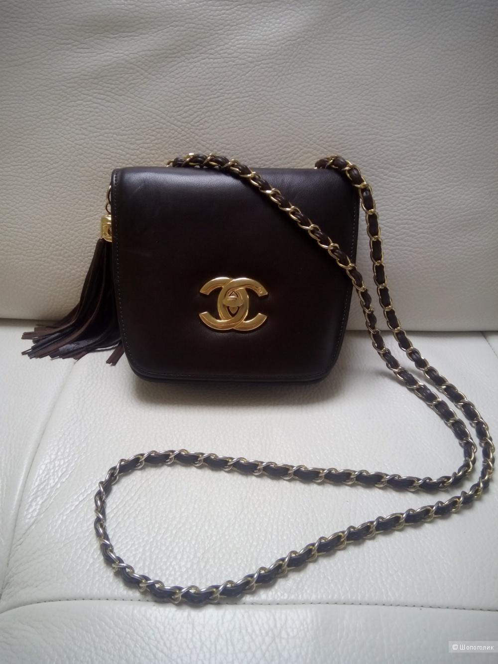 Сумка реплика Chanel на цепочке, кроссбоди, шоколадного цвета, натуральная кожа